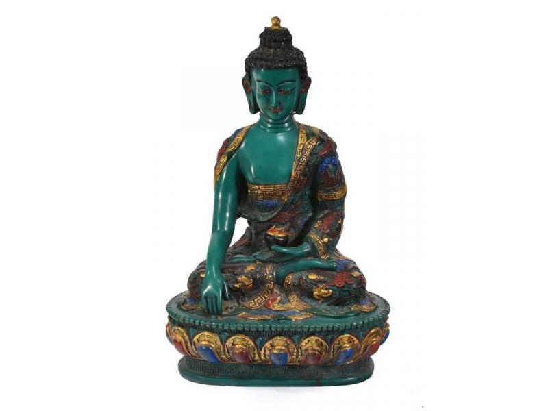 Soška Šákjamuni Buddha, tyrkysový ručně malovaný, 28cm