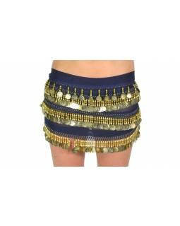 Šátek s penízky na břišní tance, tmavě modrý se zlatem