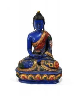 Soška Amithaba Buddha, modrý ručně malovaný, 14cm