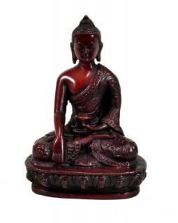 Soška Šákjamuni Buddha, červený, 14cm