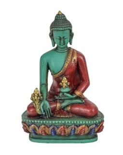 Soška Buddha léčitel (Medicine), tyrkysový ručně malovaný, 14cm