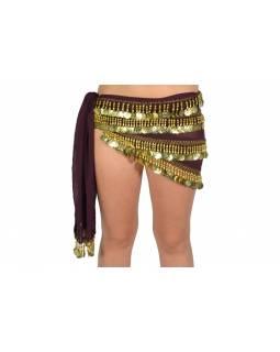 Šátek s penízky na břišní tance, bordo se zlatem