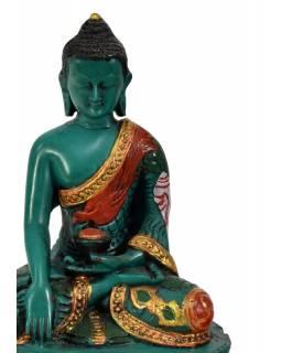 Soška Šákjamuni Buddha, tyrkysový ručně malovaný, 14cm