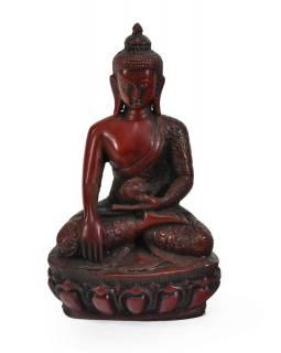 Soška Šákjamuni Buddha, červený, 17cm