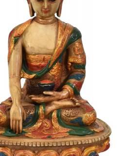 Soška Šákjamuni Buddha, natural, ručně malovaný, 19,5cm