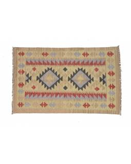 Koberec, ručně tkaný, vlna, bavlna, 120x185cm