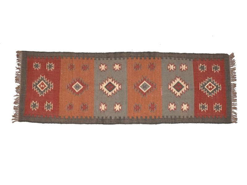 Koberec běhoun, ručně tkaný, vlna, juta, 75x230cm