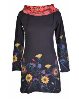 Černé šaty s dlouhým rukávem a vysokým límce, Flower design, potisk a výšivka