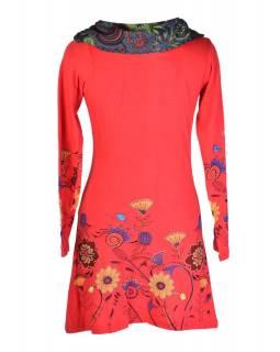Červené šaty s dlouhým rukávem a vysokým límce, Flower design, potisk a výšivka