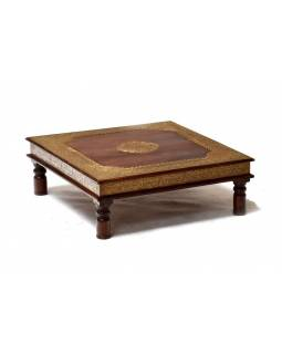 Čajový stolek z palisandru, mosazné kování, ruční práce, 60x60x20cm