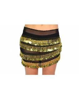 Šátek s penízky na břišní tance, černý se zlatem