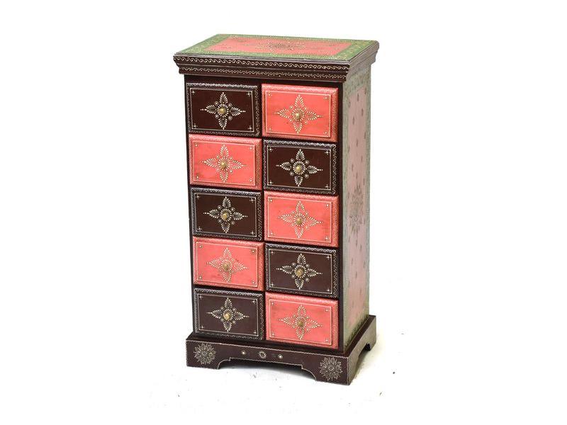 Barevná komoda z palisandrového dřeva, ručně malovaná