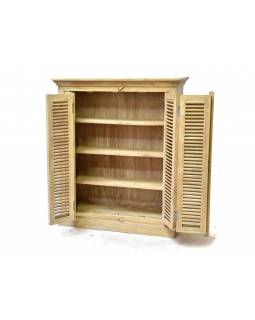 Policová skříňka s lamelovými dvířky, antik patina, mangové dřevo, 104x30x121cm