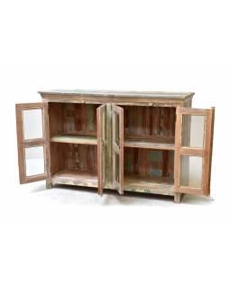 Prosklená komoda bílá patina,, antik teakové dřevo,  153x46x107cm