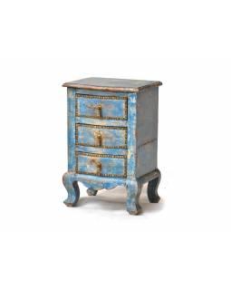 Šuplíková komodka zdobená mosazí, tyrkysová patina, 40x30x60cm