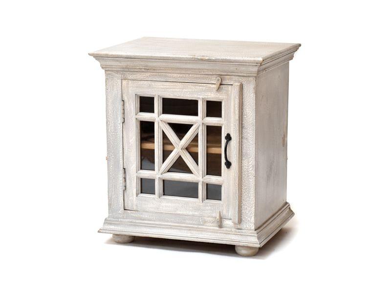 Komodka - noční stolek, prosklená dvířka, šedá patina, mango, 56x42x61cm