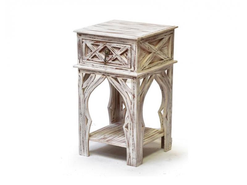 Noční stolek  se šuplíkem, bílá patina, mango, 40x40x60cm