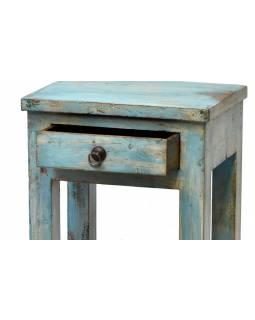 Noční stolek, tyrkysová patina, šuplík, 41x31x60cm