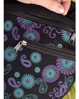 Originální batoh s pěti kapsami, černý s potiskem , ruční práce