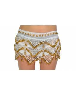 Šátek s penízky na břišní tance, bílý se zlatem