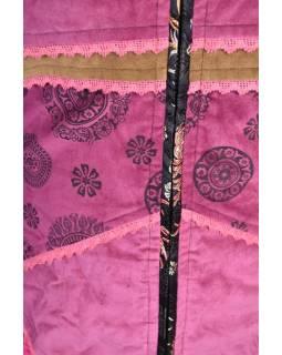 Černo-růžový sametový kabátek s kapucí, patchwork a Chakra tisk, pletení