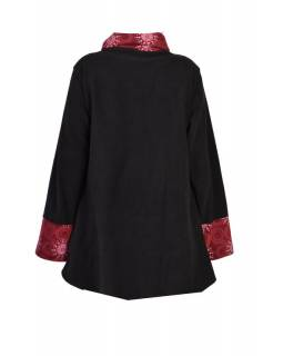Černo-vínový kabát s potiskem zapínaný na knoflík, výšivka, kapsy