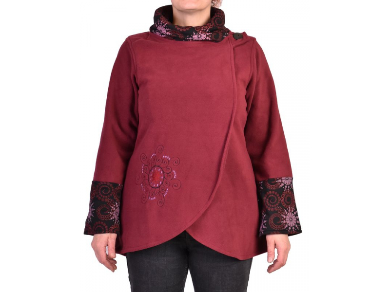 Vínovo-černý kabát s potiskem zapínaný na knoflík, výšivka, kapsy