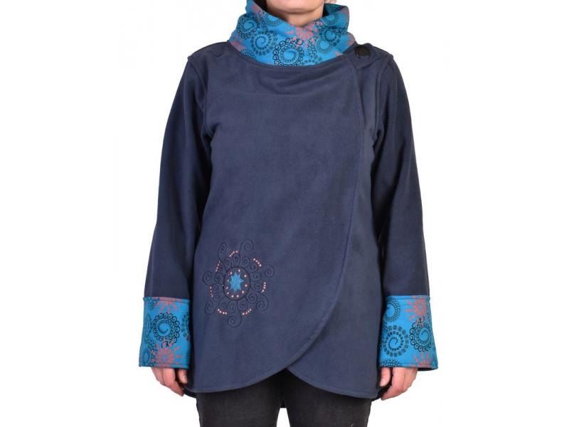 Modrý kabát s potiskem zapínaný na knoflík, výšivka, kapsy