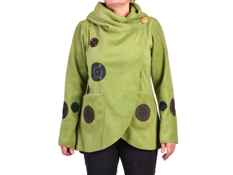Zelený kabát s kapucí zapínaný na knoflík, aplikace mandal, výšivka