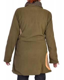 Khaki kabát s límcem zapínaný na knoflíky, barevné aplikace, potisk