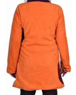Oranžový kabát s límcem zapínaný na knoflíky, barevné aplikace, potisk