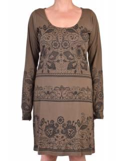 Khaki šaty s dlouhým rukávem, potisk floral