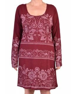 Vínové šaty s dlouhým rukávem, potisk floral