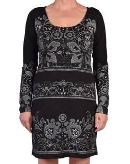 Černé šaty s dlouhým rukávem, potisk floral