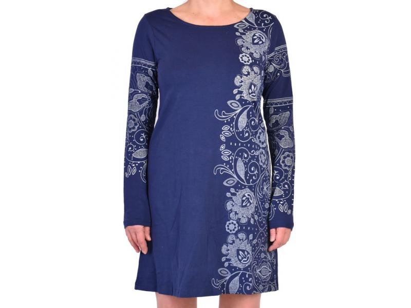 Modré šaty s dlouhým rukávem, potisk lace