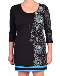 Černo-modré šaty s dlouhým rukávem, potisk lace, výšivka