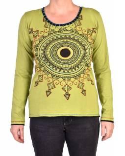 Zelené tričko s dlouhým rukávem a mandalou, ruční výšivka