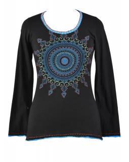 Černé tričko s dlouhým rukávem a mandalou, ruční výšivka