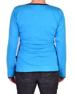 Tyrkysové tričko s dlouhým rukávem a mandalou, ruční výšivka