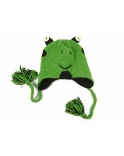 Čepice s ušima, dětská, žába, zelená, vlna, podšívka
