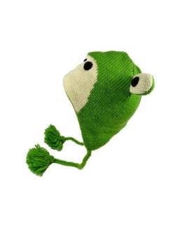 Čepice s ušima, dětská, žabák, zelená
