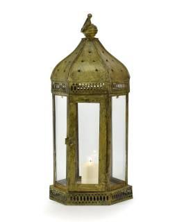Kovová lucerna, antik patina, 23x23x61cm