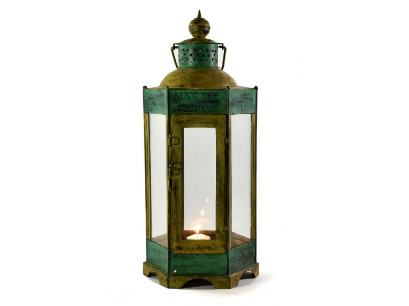Kovová lucerna, žluto zelená patina, 24x24x65cm
