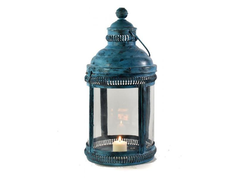 Kovová lucerna, modrá patina, 29x29x65cm