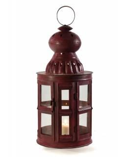 Kovová lucerna, červená patina, 27x27x65cm