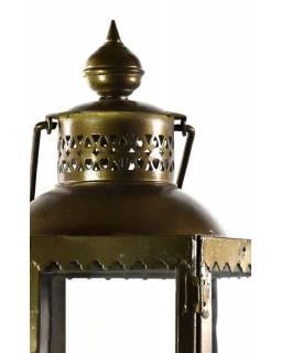 Kovová lucerna, zlato hnědá, 24x24x74cm