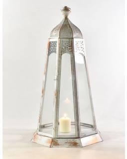 Kovová lucerna, bílo-měděná patina, 33x33x69