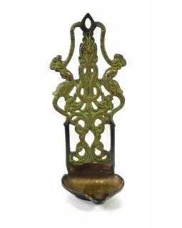 Olejová lampa, 2 pávi, zelená patina, 10x9x25cm