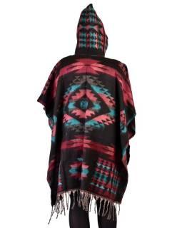 Krátké vzorované pončo s kapucí a třásněmi, vzor aztec, kapsa