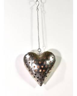 Závěsný svícen, kovové srdce, 19x21cm